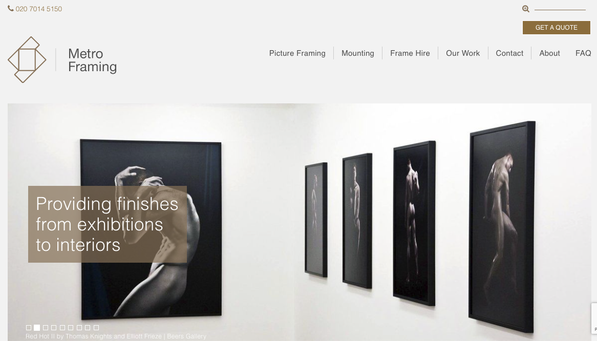 Website design / development for Metro Framing by CWS Islington